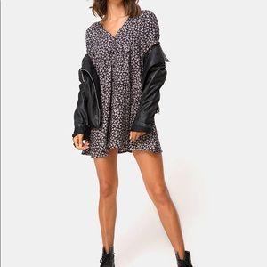 Motel Rocks CROSENA SWING DRESS DITSY ROSE BLACK